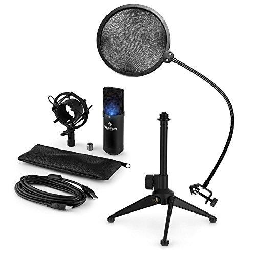 auna MIC-900B-LED - Mikrofon-Set V2, 3-teilig, USB Kondensatormikrofon + Popschutz + Mikrofon-Tischständer, Nierencharakteristik, Plug & Play, 35cm Schwanenhals, Höhenverstellbar, schwarz