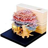 Funny 3D Sticky Notes with Night Light, Pen Holder&Dispenser, Cool Art Memo Pad Cute Desk Decor Building Blocks Note Pad Kawaii Japanese Post Note Paper Sculpture Miniature for Office/Home