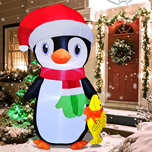 TURNMEON 6 Feet Christmas Inflatables Outdoor Decorations Santa Penguin Holds Fish with Tethers Stakes LED Lights Blow Up Christmas Decoration Holiday Yard Outdoor Decor Lawn Garden Home Party