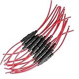Gebildet 15pcs AGC Portafusibles Inline con 16 AWG Alambre, 32V 20A Tipo de Tornillo Portafusible para 5 x 20mm Fast-Blow Fusible de Vidrio, Tube Fusibles Titular