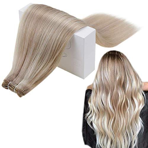Runature Weft Echthaartresse Glattes Haar 20 Zoll Farbe 18A Aschblond Hervorgehoben Mit Farbe 60 Platinblond (100g) Haarverlängerungen Natürliche