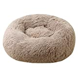 Pet Dog Bed Round Donut Dog Bed Brown, Premium Quality Faur Fur Plush Pet Cat Bed Comfortable Cuddler Round, Ultra Soft Calming Dog Cushion Bed-Better Sleep for Large Medium Small Dogs and Cats