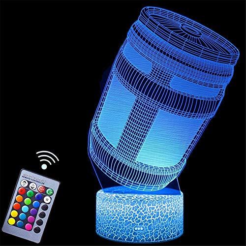 Lámpara de ilusión 3D Chug Jug 3D Luz de noche para niños 16 colores cambiantes LED luz nocturna con Smart Touch y control remoto, regalos para niños niñas de 4 5 6 años más