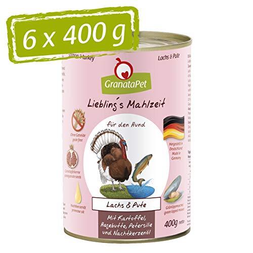 GranataPet Liebling's Essen - Nourriture Humide pour Chien - Saumon et Dinde - sans céréales ni Sucre - 6 x 400 g