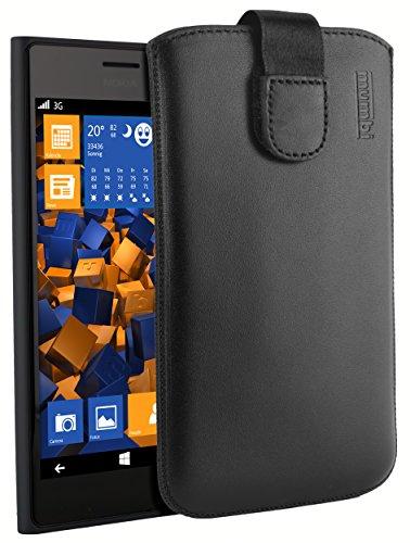 mumbi Echt Ledertasche kompatibel mit Nokia Lumia 730 Hülle Leder Tasche Case Wallet, schwarz
