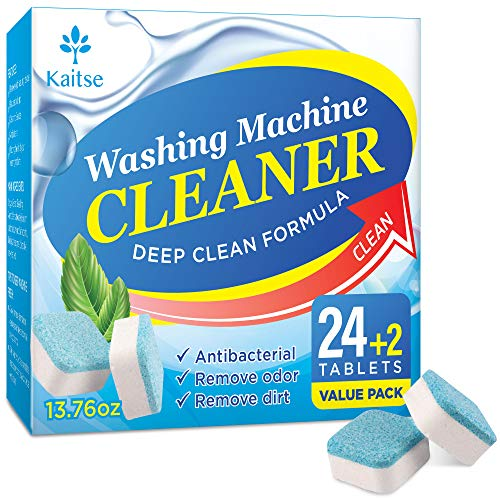 Kaitse Washing Machine Cleaner Effervescent Tablets, Solid Washer Deep Cleaning Tablet, Triple Decontamination Remover with Natural Biological Formula, for Front and Top Load Washers, Value 26 Pack