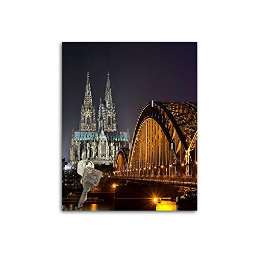 Schlüsselbrett mit Design Köln bei Nacht Schlüsselboard Schlüsselhaken SB718