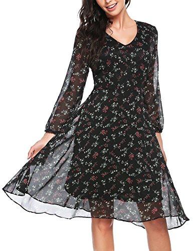 Zeagoo Damen Elegant Sommerkleid Chiffonkleid Cocktail Partykleid Blumen Kleid A Linie Knielang...