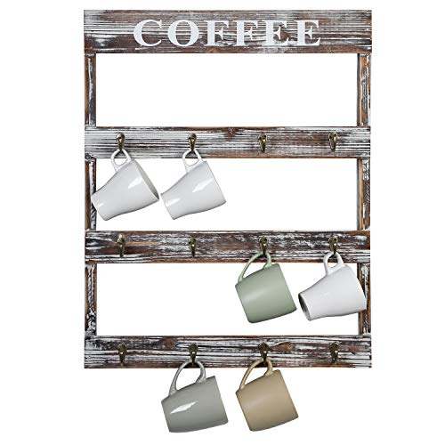 MyGift 12Hook Rustic Torched Wood Coffee Mug Holder WallMounted Rack for Home Kitchen Display Storage and Collection