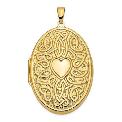 14k Yellow Gold Irish Claddagh Celtic Knot Heart 38mm Oval Photo Pendant Charm Locket Chain Necklace That Holds Pictures Fine Jewelry For Women Gifts For Her