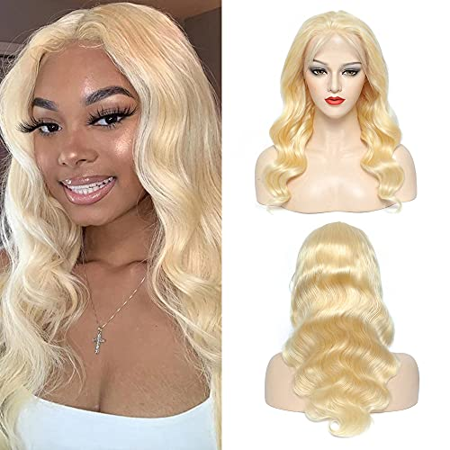 613 Blonde Lace Front Wig Human Hair 13x4 Lace Front Wigs Human Hair Body Wave 20Inch Pre Plucked with Baby Hair 150% Density Brazilian Lace Frontal Human Hair Wigs for Women (20Inch)