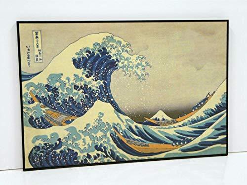 BaikalGallery LA Gran Ola DE Kanagawa - KATSUSHIKA Hokusai-Cuadro (P2247) -Moldura de Aluminio Mate Color Negro - Montaje en Panel Adhesivo (Foam)- Laminado en Mate (Sin Cristal)(50x75cm)