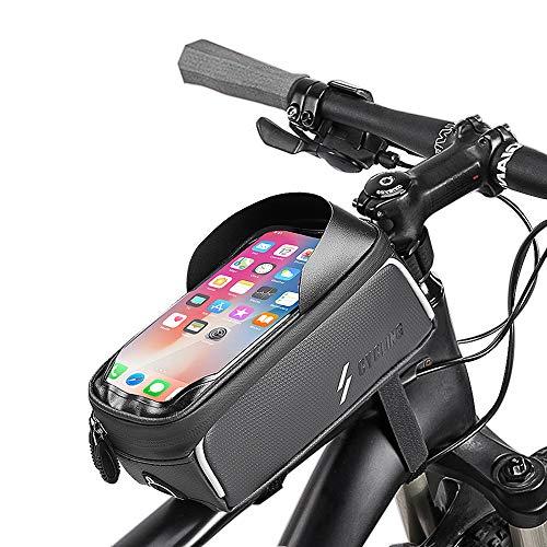 Fahrrad Rahmentasche, Etercycle Wasserdicht Lenkertasche Fahrrad Handyhalterung mit Touchscreen und Kopfhörerloch, Reflektierend Fahrrad Oberrohrtasche für Smartphone unter 6,5 Zoll