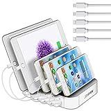 JZBRAIN Station de Charge pour Multiples Appareils, Chargeur USB Multi-Ports Compatible avec Le Téléphone Portable et Les Tablettes IPhone IPad (Blanc)