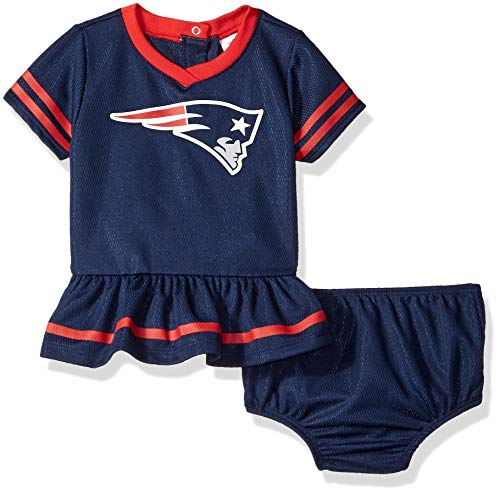 NFL New England Patriots Team Jersey Dress and Diaper Cover, Blue/red New England Patriots, 6-12 Months (138872160PTS612-417)>