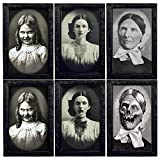 PHOGARY Halloween Creepy Decoration, 3 Pack Horror Portrait Photo, Scary Picture Decor, 3D Changing Faces, Haunted Spooky Wall Picture with Frame for Halloween Home Mansion Decoration
