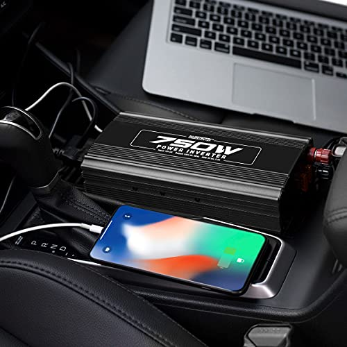 INVERTERTEK 750W Continuous/1500W Peak Power Inverter DC 12V to 110V AC Car Converter with 2A USB Charger and AC Charging Ports for Laptop,Tablet, Smartphone, Camera and More