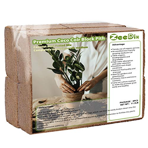 ZeeDix 8 Pcs Premium Coco Coir Brick- 100% Organic Compressed Coconut Coir Starting Mix, Coco Coir Fiber for Potting Soil, Herbs, Gardening