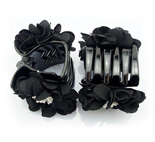 HAND élégant élégant Satin Jasmine Fleur Bulldog Cheveux Pinces 70 mm x 50 mm Pack de 2, Noir et Blanc