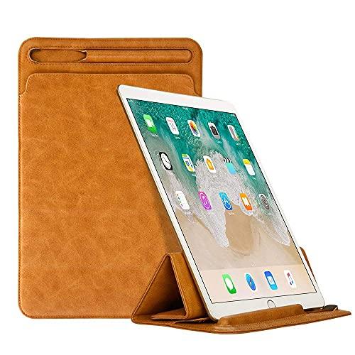 Funda triple para iPad 9.7 2017/2018/iPad Air1/2 con soporte para lápiz de Apple, piel sintética, color negro