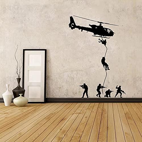 Calcomanía de pared,soldado militar para hombres,SWAT,niños,niños,decoración de dormitorio,vinilo,adhesivo artístico,Mural,calcomanía artística A9,60x80cm