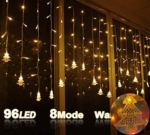 LOPSNNA Cortina de Luces, 8 Modos,96 LEDS 3.5M Luz Cadena,LED Guirnaldas luminosas, Cadena De Luces, Perfecto para Decoración de Navidad, Festival,Fiestas, Casa,Jardín,Boda (Blanco Cálido)