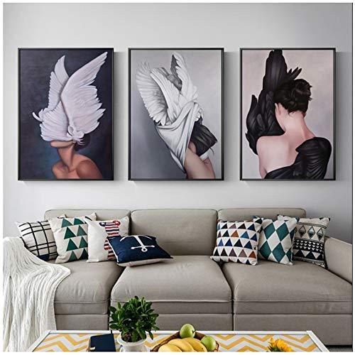 LJXIAOXINFBH Quadri murali Astratta Moderna Pittura Piuma Angelo Foto Decorazione Artistica Decorazione Domestica Camera da Letto Trittico 60x80cm Ali di Donna incorniciate