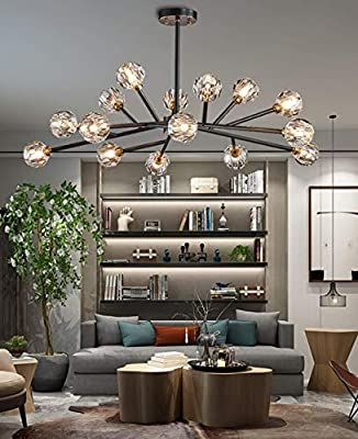 "Efperfect Modern Sputnik Chandelier 18-Light Crystal Pendant 43"" LED Ceiling Light Pendant, Cut Crystal with G9 LED Bulbs (Black)"