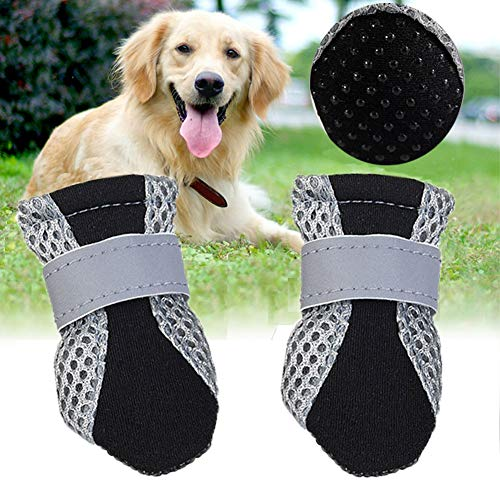 KET Dog Mesh Boots Breathable Soft Sole Dog Paw Protectors,Protection Paw Dog Shoes with Adjustable Reflective Velcro Straps, Dog Boots with Anti-Slip Sole for Small to Medium Dogs 4PCS (L)