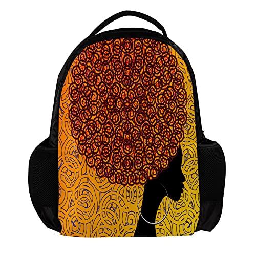 Large Travel Backpack Laptop Backpack african women hair afro earrings School Bag Lightweight Backpack Vacation Backpack