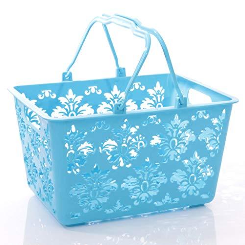 Panier à Provisions Exporter en plastique Panier creux Basket Fruit Basket Portable Panier de rangement Panier légumes supermarché panier surdimensionné Cabas de Courses (Color : Green)