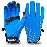 Amrta, guanti invernali da uomo e donna, guanti da ciclismo, guanti da sci, spessi, termici, antivento, leggeri, per ciclismo, corsa e sci Blu L