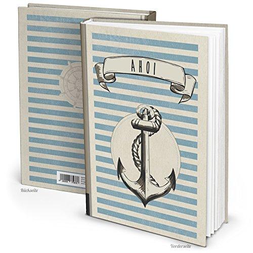 Logbuch-Verlag Notizbuch AHOI Anker Symbol HARDCOVER Tagebuch Reisetagebuch DIN A4 blau grau shabby retro Vintage Geschenkbuch Blankobuch