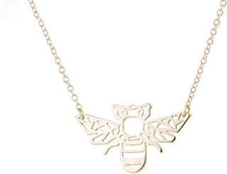 Origami Bee Necklace for Women Bee Pendant Necklace Bee Charm Neckalce Bees Necklace