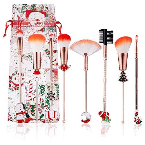 Kit de Pinceau de Maquillage de Noël, Pinceau Foundation Blush, Pinceau éventail, Pinceau à Paupières, Kit de Pinceau Cosmétique pour Pinceau à Sourcils