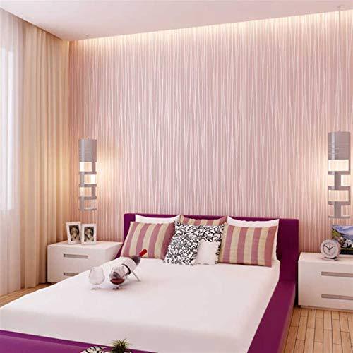 Cajones de Cocina Gabinetes Estantes encimeras WAL Fondo de Pantalla de Color Rosa niñas Dormitorio Rollo de Papel de Pared Reunida Textura grabada en Relieve de Lujo Moderno de Rayas