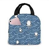 Inky Cephalopods Bolsa de almuerzo aislada portátil para mujeres y hombres Bolsa de almuerzo reutilizable con bolsillo frontal para foto
