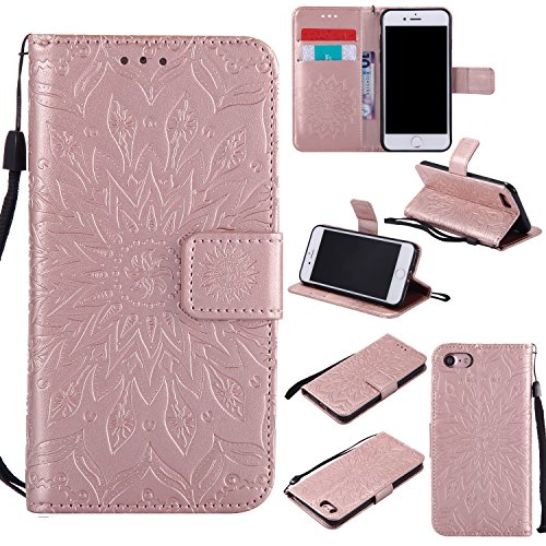 Phone Case for iPhone SE 2020/7/8 Wallet Cases with Tempered Glass Screen Protector Leather Flip Cover Card Holder Stand Cell iPhoneSE2020 iPhone7 iPhone8 i Phones8 i7 i8 7s 8s Women Rose Gold