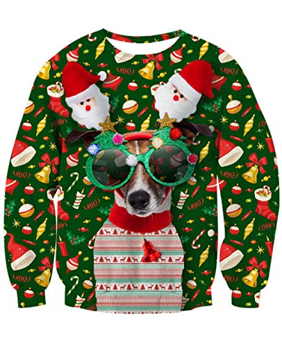 NEWISTAR Frauen Weihnachtpullover 3D Weihnachten Hund Gedruckt Pullover Herren Weihnachten Jumper Tops Sweatshirts Bluse XL