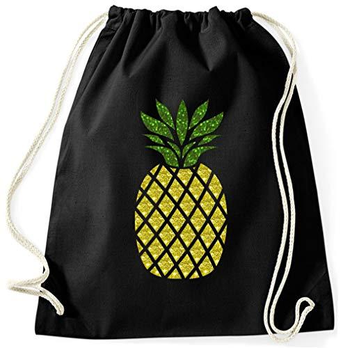 BlingelingShirts Turnbeutel Ananas Glitzer Gymsack Sportbeutel pineapple