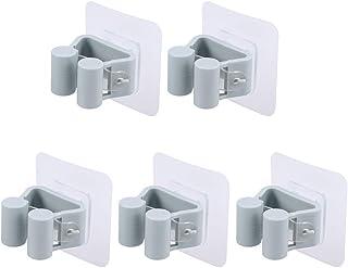 Cabilock 5pcs Support de Rangement Multifonctionnel Porte-Balai Auto-adhésif Balai-Crochet-Crochet-Punch-Nettoyage-Nettoya...