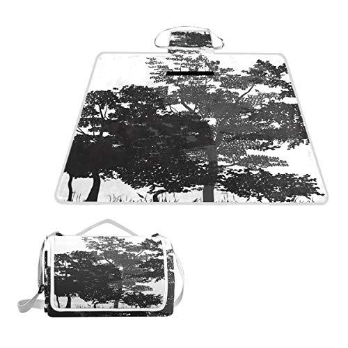 XINGAKA Manta de Picnic Impermeable,Bosque de Hoja caduca árboles Naturaleza...