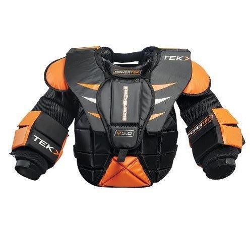 PowerTek Barikad V5.0 Ice Hockey Goalie Goal Chest Arm Pads, Junior Sizes (Medium)