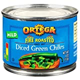 Ortega Fire Roasted Diced Green Chilis, Mild, 4 oz