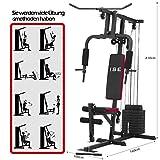 ISE Profi Multifunktion Gym Kraftstation Fitnessstation Heimtrainer Latzugstange mit Gewichten für...