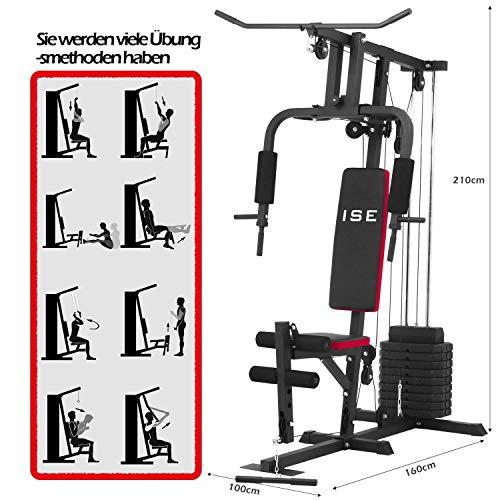 ISE Profi Multifunktion Gym Kraftstation Fitnessstation Heimtrainer Latzugstange mit Gewichten für Seilzug-Multigym mit Butterfly