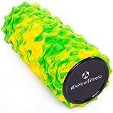 #DoYourFitness Rodillo para Masaje miofascial, Rodillo de Espuma »Ishana« Graffiti Rodillo para masajes y terapias Que facilita un automasaje Efectivo/Amarillo-Verde