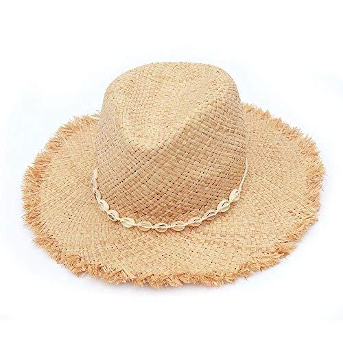 TSP Sombreros Panamá de moda con concha natural de rafia, sombrero de playa de verano de paja para mujer (color: blanco)