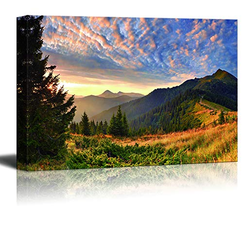 wall26 - Canvas Wall Art - Mountain Sunset Landscape - Modern Home Art Stretched and Framed Ready to Hang - 16x24 inches
