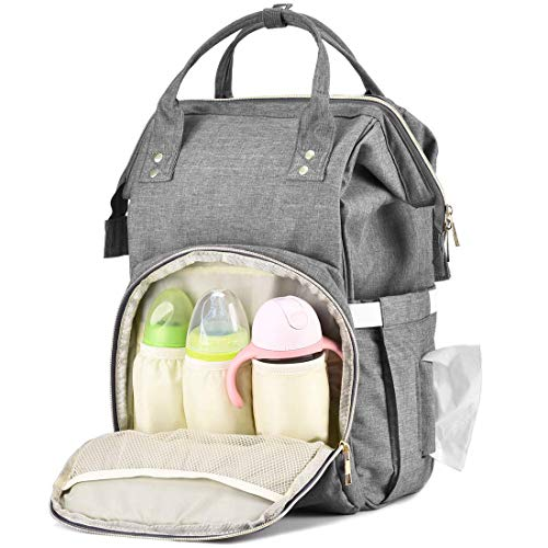 Baby Diaper Organizer Bag with Insulated Cup Holder Multi-Pocket Black, Gray, Medium